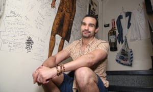 Javier Muñoz backstage at the Richard Rodgers Theater on Broadway.