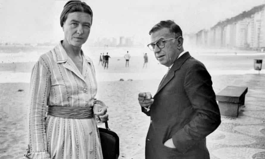 Simone de Beauvoir (and Jean-Paul Sartre in Copacabana, Rio.