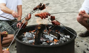 A beach firepit barbecue.