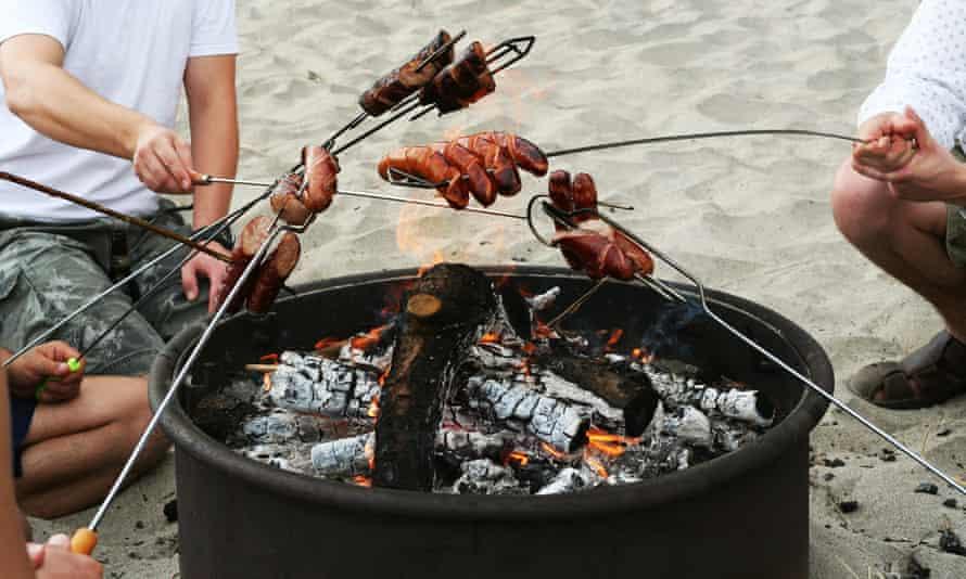 A beach firepit barbecue.