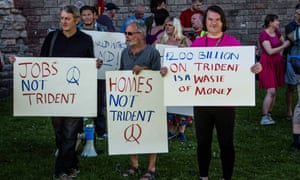 Protesters in Cardiff call for the scrapping of Trident, July 2016