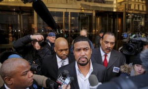 Pastor Scott arrives for a meeting with Trump at his office in Manhattan.