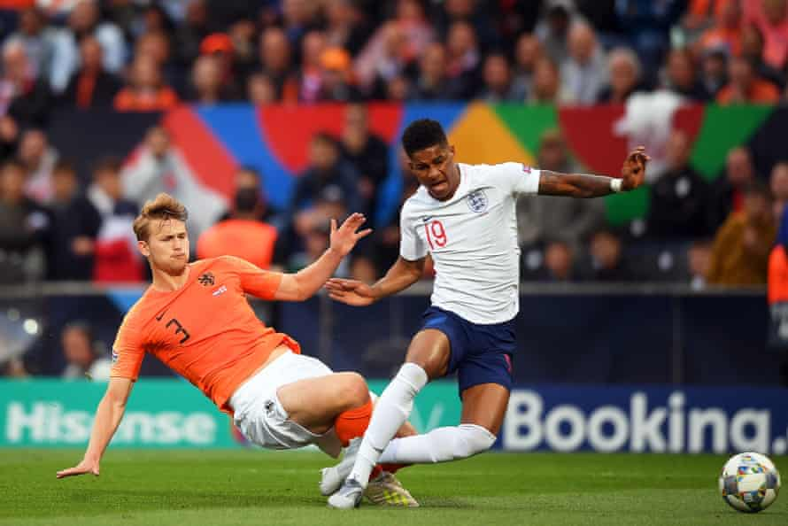 Matthijs de Ligt scythes down Marcus Rashford to allow the England forward to open the scoring from the spot.