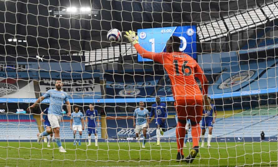 Édouard Mendy saves a penalty from Manchester City's Sergio Agüero this month.