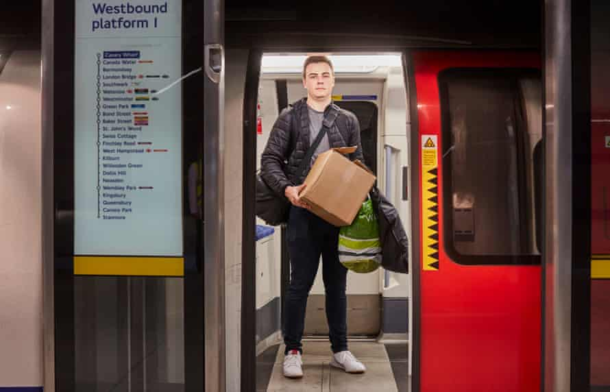 Louis Nicholl, 21, from Norfolk at Canary Wharf underground station.