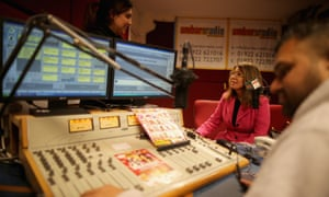 An interview underway at Ambur local radio station in Caldmore, Walsall