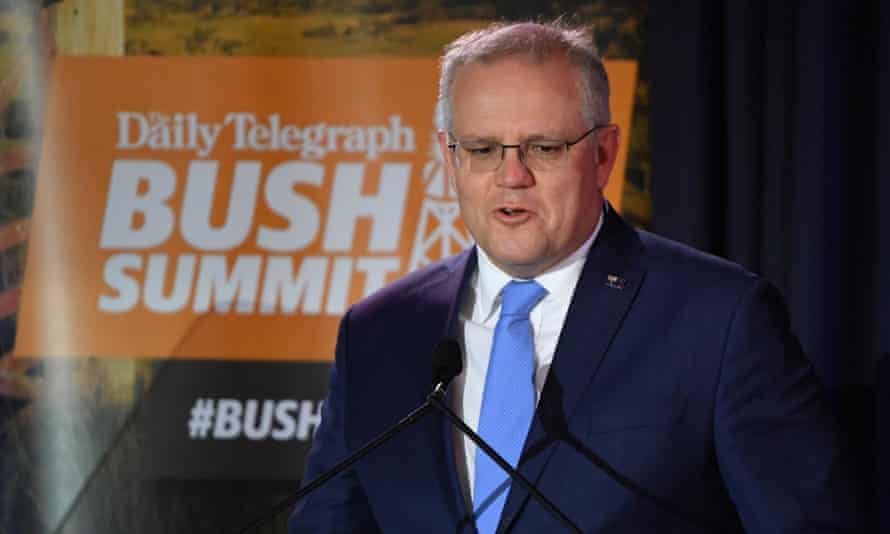 Prime minister Scott Morrison at the bush summit in Cooma on August