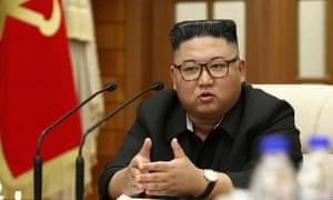 North Korean leader Kim Jong Un at a meeting of the Political Bureau of the Central Committee of the Workers' Party of Korea (WPK) in Pyongyang.