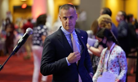Corey Lewandowski approaches the microphone to speak at the Republican national convention in Charlotte, North Carolina, on 24 August.