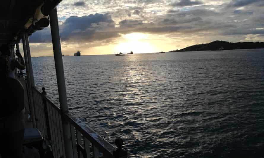 Looking westwards off the shore of Trinidad across the Gulf of Paria towards Venezuela