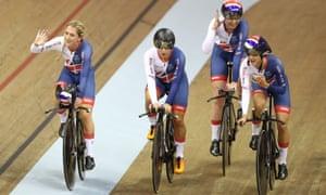 Great Britain's Laura Kenny, Neah Evans, Katie Archibald and Elinor Barker