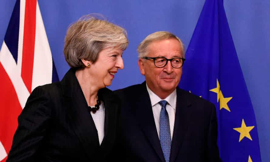 Theresa May and Jean-Claude Juncker in Brussels.