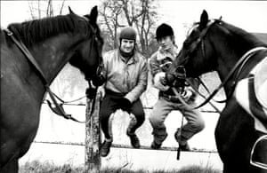Bob Champion and John Hurt with horses Aniece and Dinkie near Champion's Wiltshire stables. Hurt played the the jockey in the film Champions, in 1984