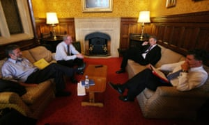 Gerry Adams (from left) and Martin McGuinness with Tony Blair and Jonathan Powell at Westminster in 2007.