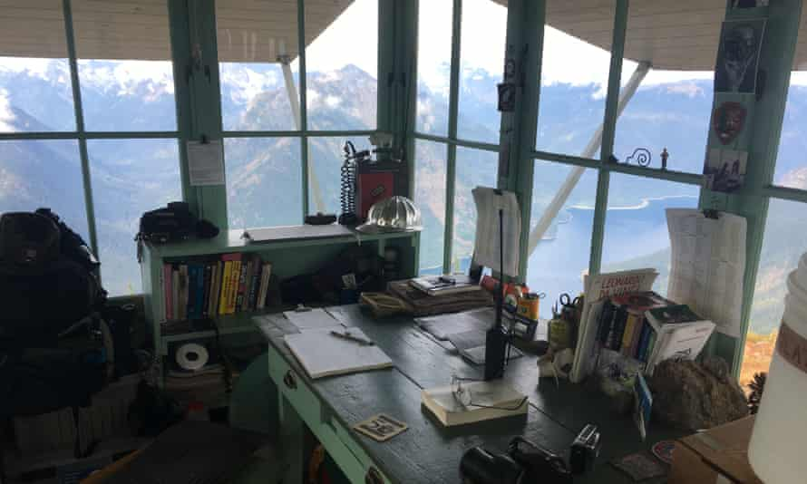 Inside the cabin of Jim Henterly, fire watchman of Desolation Peak in the Cascade mountains, Washington State