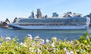 Ruby Princess departs Sydney Harbour with only crew on board on 19 March.