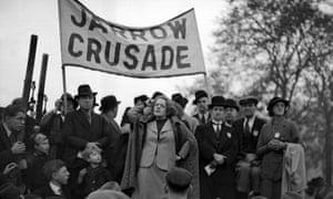 Ellen Wilkinson with the Jarrow marchers in Hyde Park on 1 November 1936.