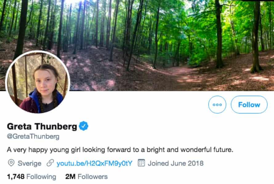 Greta Thunberg's new Twitter bio.