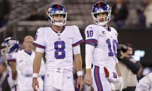 Eli Manning (right) could return as the Giants' starter this weekend after an injury to Daniel Jones