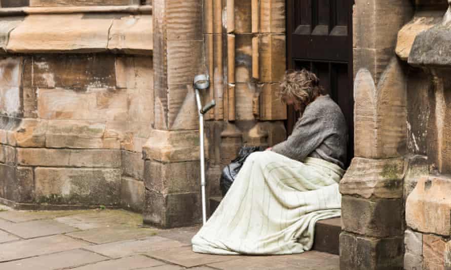 A homeless man in York.