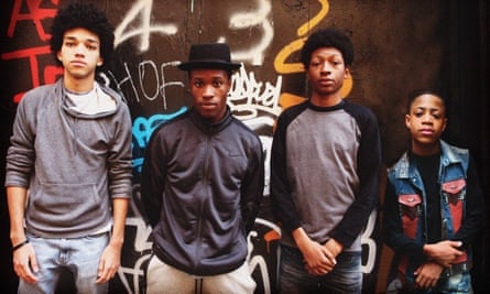 Justice Smith, Shameik Moore, Skylan Brooks and TJ Brown on the set of Baz Luhrmann's The Get Down