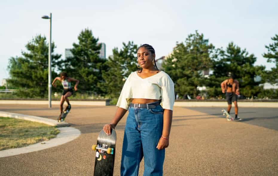 Born in London, Christana Amadi has only recently taken up skateboarding and joined the Melanin Skate Gals and Pals group to do so.