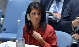 Nikki Haley, US Ambassador to the UN and the current UN security council president.