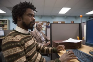 Selling up a storm… Lakeith Stanfield as Cassius, with Danny Glover as Langston, in Sorry to Bother You.