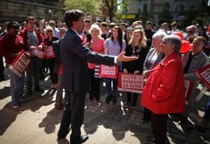 Preston, England: Former Labour leader Ed Miliband
