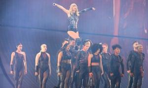 Taylor Swift onstage at the Manchester Etihad Stadium