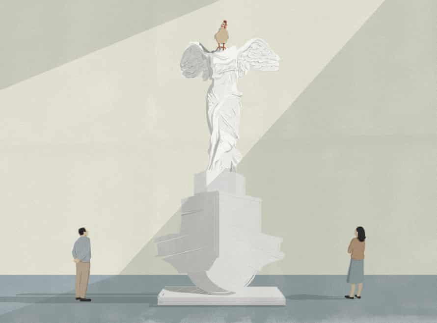 Man and woman look up at a checken on top of white statue