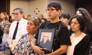 The family of journalist Javier Valdez attends his memorial service at a funeral parlor in Culiacán on 16 May 2017. Within days his widow, Griselda Triana, was subjected to attempts to spy on her.