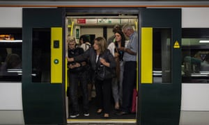 Passengers on a Southern train during a strike by members of the RMT