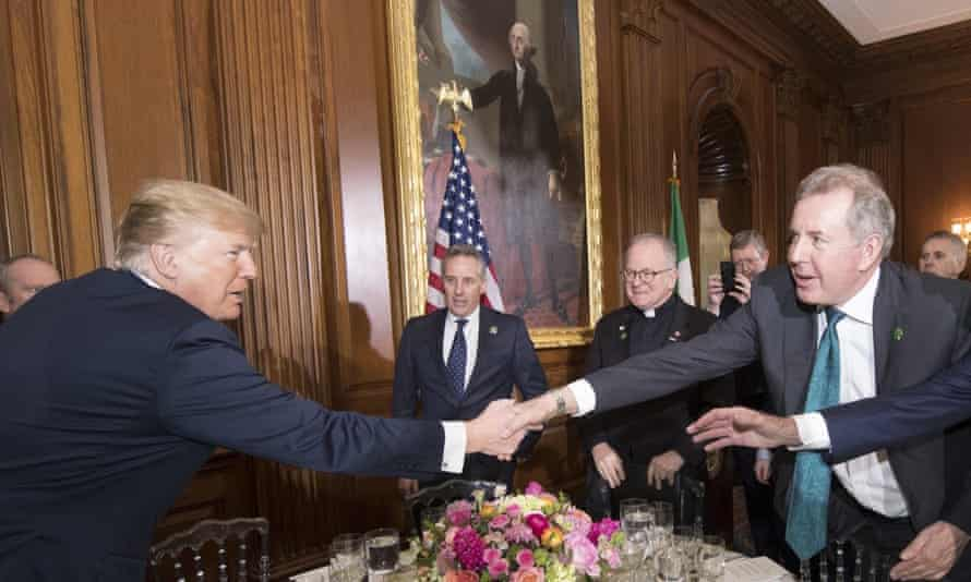 Donald Trump with UK ambassador Sir Kim Darroch in April 2018.