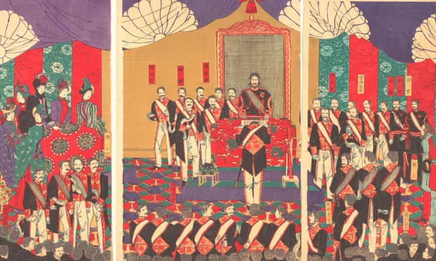 Detail from an illustration of the ceremony for the promulgation of the constitution of Japan in 1889.