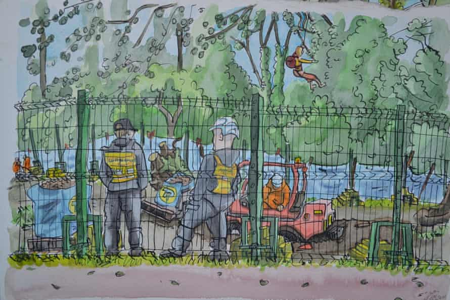 A drawing by Jimbino Vegan of a protest at Denham last summer. It shows a digger getting stuck in the mud while an activist abseils from a tree.