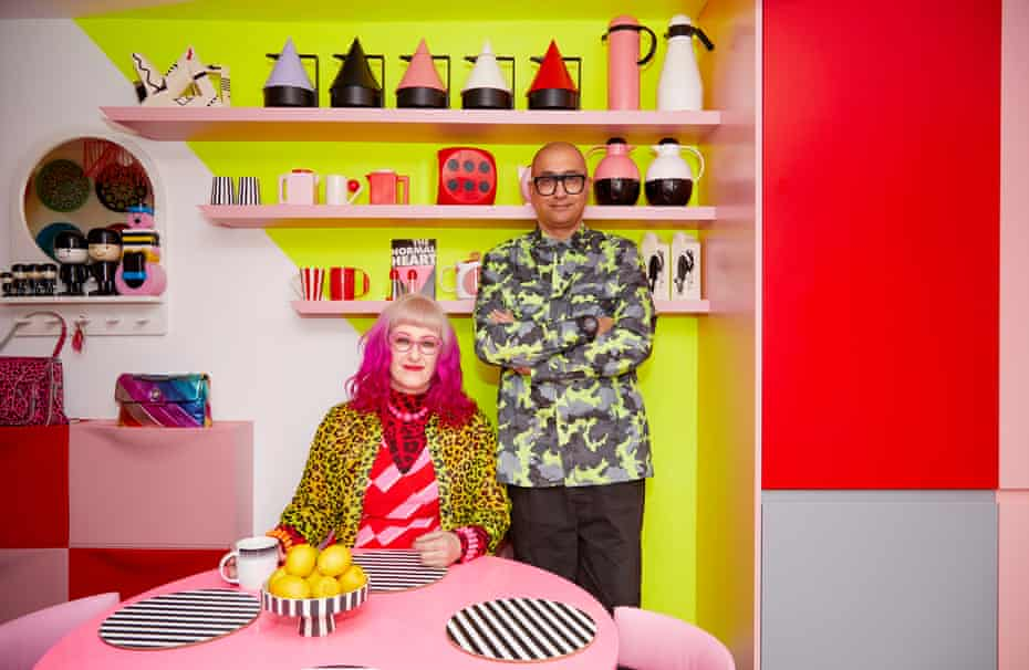 Ms Pink and her partner Mr Black at home in Hackney