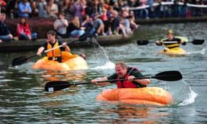 Not all America's pumpkins get eaten: the west coast giant pumpkin regatta in Tualatin, Oregon.