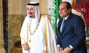 The Egyptian president, Abdel Fatah al-Sisi (right), alongside Saudi Arabia's King Salman in Cairo.