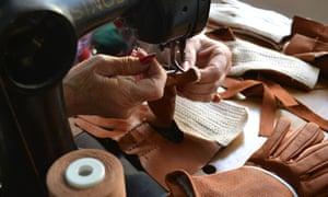 Glove-making in progress at Omega Srl, Naples