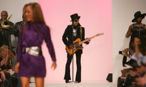 Prince makes a surprise appearance during a Matthew Williamson show, London fashion week, 2008.