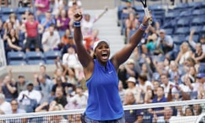 Taylor Townsend celebrates victory.