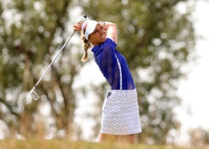 Sophia Popov of Team Europe plays her shot from the fifth tee.
