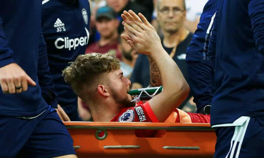 Harvey Elliott applauds the crowd at Leeds as he is taken off on a stretcher on Sunday.