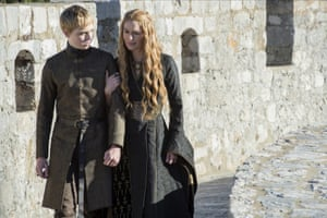 Tommen Baratheon (Dean Charles Chapman) and Cersei Lannister (Lena Headey) during filming of season five