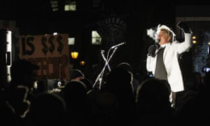 The Rev Billy Talen preaches to Occupy Wall Street protesters in New York in 2012.