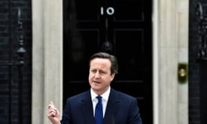 Prime minister David Cameron speaks as he returns to Downing Street