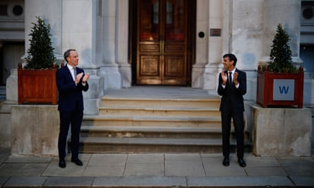 Dominic Raab and Rishi Sunak clap for frontline workers outside the Foreign and Commonwealth Office, London, 16 April 2020