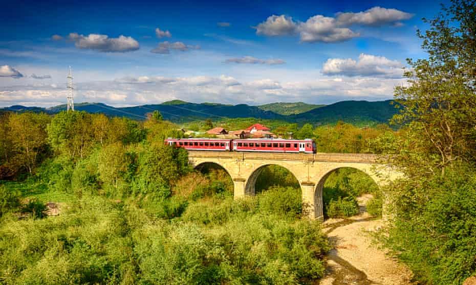 Train trundling through Romania.