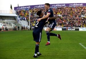 Scotland's Ryan Christie celebrates scoring.